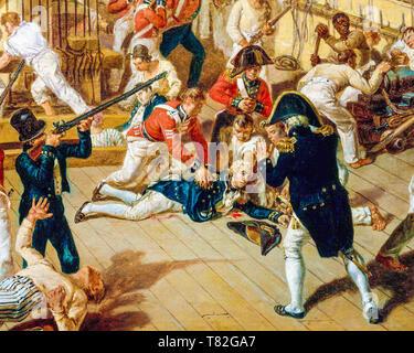 Denis Dighton, The Fall of Nelson, Battle of Trafalgar, 21 October 1805 (detail), c. 1825 painting - Stock Image