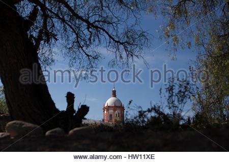 Neoclassical style dome of the Parroquia San Pedro church in Mineral de Pozos, Guanajuato, Mexico. - Stock Image