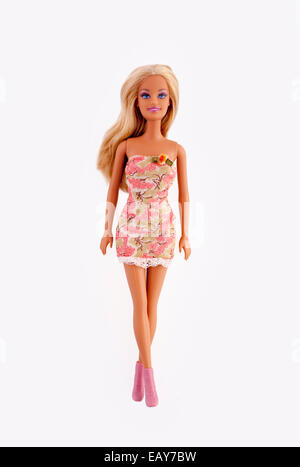 Barbie doll, isolated on white. - Stock Image