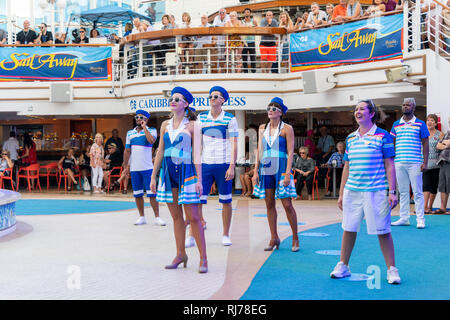 Sailaway Party on Caribbean Princess Cruise Ship as it leaves Fort Lauderdale,Florida - Stock Image