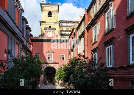 Courtyard Basilica della Santissima Annunziata Maggiore in the Old Town of Naples, Italy - Stock Image