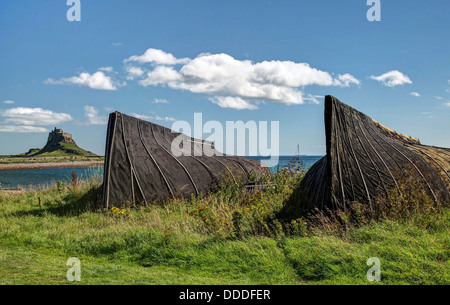 The upturned boats on Lindisfarne - Stock Image