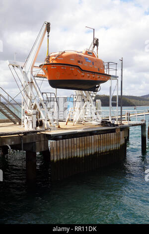 Lifeboat used for training students at the Australian Maritime College, Beauty Point, Tamar River, Tasmania, Australia. No PR - Stock Image