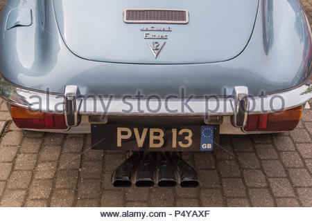 Heritage motor vehicles on show in Fleet, Hampshire.Rear of a V12 E-Type Jaguar showing four tail pipes from the exhaust. - Stock Image