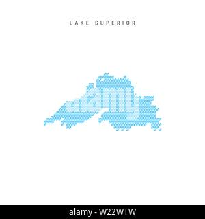 Vector Blue Wave Pattern Map of Lake Superior, One of the Great Lakes of North America. Wavy Line Pattern Silhouette of Lake Superior. - Stock Image