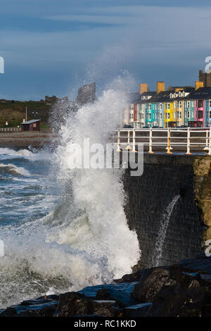 Aberystwyth Wales UK, 13 Jan 2019 UK Weather: A blustery day in Aberystwyth on the west wales coastline, with winds gusting up to gale force at times, driving huge w2aves into the seafront at high tide   photo credit: Keith Morris / Alamy Live News - Stock Image