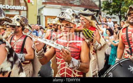 Sibiu City, Romania - 16 June 2019. Batucada Villa Pipol band , Brazilian percussion style of African influences, performing at the Sibiu Internationa - Stock Image