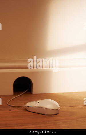 Computer Mouse Outside Mouse Hole - Stock Image