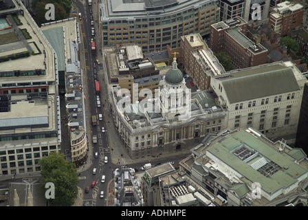 Aerial view of the Old Bailey in London, which is also known as the Central Criminal Court and deals with major criminal cases - Stock Image