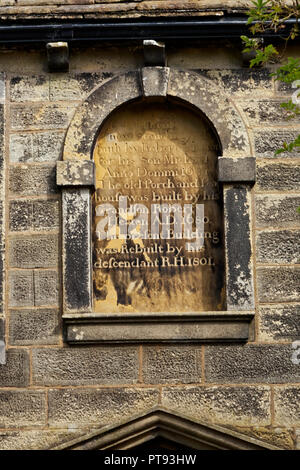 Inscription - Ponden Hall - the building used Emily Bronte in Wuthering Heights as both Wuthering Heights itself, and Thrushcross Grange - Stock Image