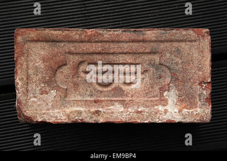 Monogram J.B. sealed on an old brick produced in the 19th century in Bohemia, Austro-Hungarian Empire. - Stock Image
