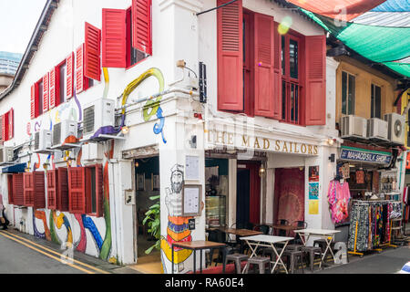 Singapore - 22nd December 2018: The Mad Sailors bar and restaurant on Haji lane. This is in the Kampong Glam area - Stock Image