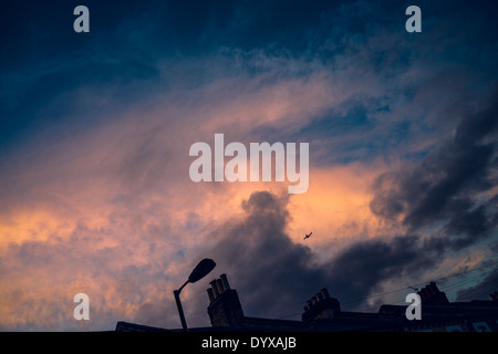 View of the London sky in a sunset with victorian houses' chimneys and plane passing by. - Stock Image