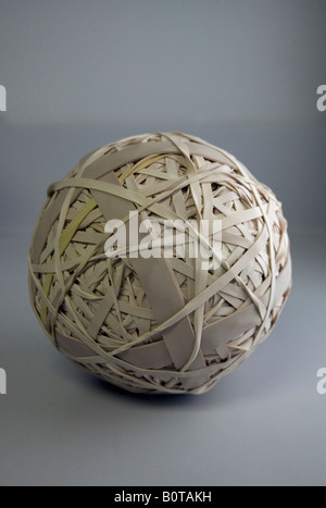 A ball made up of rubber bands - Stock Image