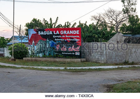 Sagua La Grande, Villa Clara, Cuba, political billboard remembering the facts of April 9 of 1958 (Revolutionary Strike supporting Fidel Castro and his - Stock Image