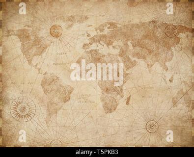 Old world map vintage stylization - Stock Image