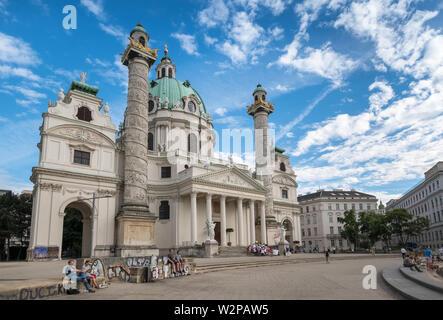 Karlskirche (St Charles Church), a beautiful baroque Roman Catholic church and local landmark building, Vienna, Austria. - Stock Image