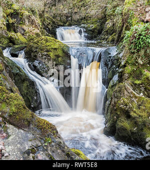 Multiple levels of the Pecca falls on the popular Ingleton waterfall trail in the North Yorkshire Dales England UK. - Stock Image