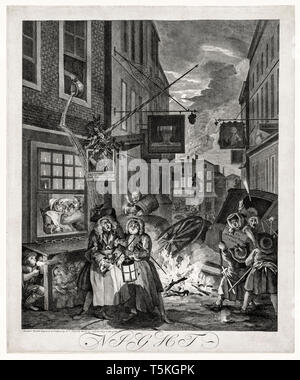 William Hogarth, The Four Times of Day: Night, engraving, 1738 - Stock Image