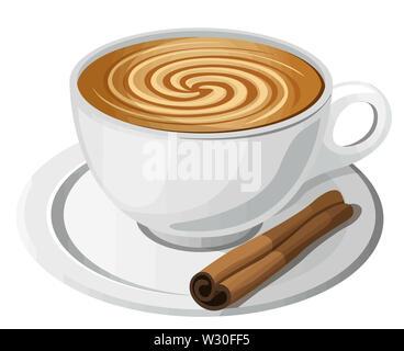 coffee cinnamon brown cup drink illustration - Stock Image