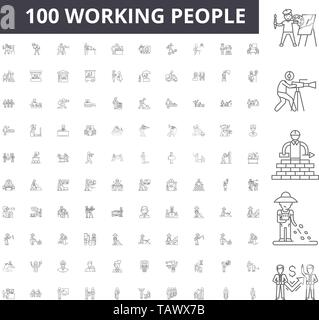 Working people line icons, signs, vector set, outline illustration concept  - Stock Image