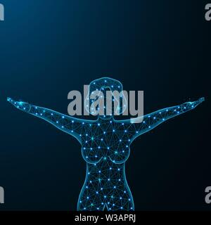 Girl in good physical shape low poly design, happy woman in polygonal style, girl raised her arms up vector illustration on dark blue background - Stock Image