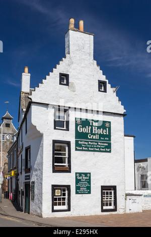 The Golf Hotel in Crail in the East Neuk of Fife showing a Traditional Crow Stepped Gable or Corbie Step - Stock Image