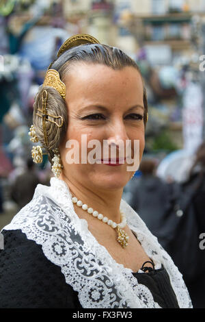 Won dressed in traditional local costume Valencia Spain - Stock Image