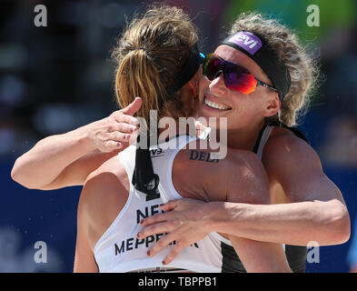 Ostrava, Czech Republic. 02nd June, 2019. L-R MADELEIN MEPPELINK and SANNE KEIZER (Netherlands) are seen during the four-star J&T Banka Ostrava Beach Open 2019, part of the FIVB Beach Volleyball World Tour, in Ostrava, Czech Republic, on July 2, 2019. Credit: Vladimir Prycek/CTK Photo/Alamy Live News - Stock Image