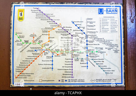 U-Bahn Museum Berlin. Transport museum in one of the former historic control rooms at the Olympia Stadium metro station. Old 1967 U-bahn map The contr - Stock Image
