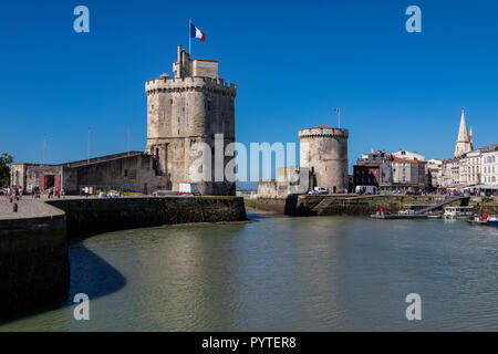 Vieux Port in La Rochelle on the coast of the Poitou-Charentes region of France. - Stock Image