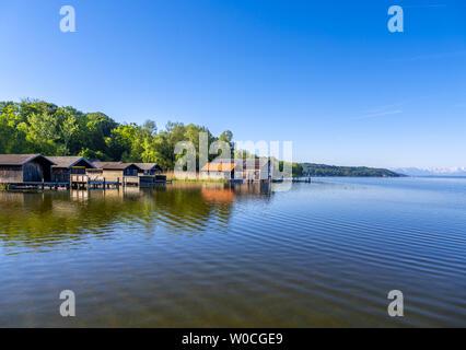 Boathouses on Lake Starnberg, Bavaria, Germany - Stock Image
