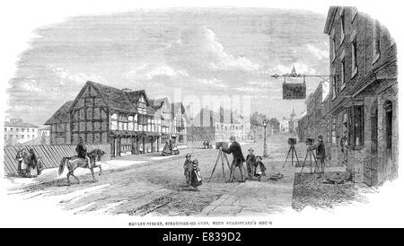 William Shakespeare Shakspeare house Henley street Stratford on Avon 1868 - Stock Image