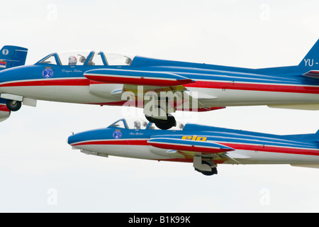 Galeb G-2 trainer aircraft of Serbian acrobatic group 'Flying stars' taking off, Airshow Maribor 2008, Slovenia - Stock Image