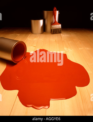 Spilt red paint - Stock Image