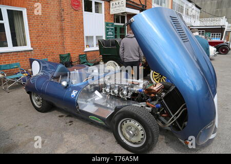 Jaguar D-Type replica, British Marques Day, 28 April 2019, Brooklands Museum, Weybridge, Surrey, England, Great Britain, UK, Europe - Stock Image