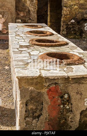 Drink Storage Containers In Tavern Herculaneum Italy - Stock Image