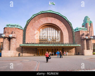 20 September 2018: Helsinki, Finland - Helsinki Central Railway Station, built in 1919 in the Art Deco Style. - Stock Image