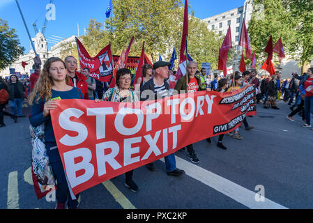 London, UK. 20th October 2018. People carry the 'Stop Tory Brexit' banner down Whitehall at the end of the People's Vote March calling for a vote to give the final say on the Brexit deal or failure to get a deal. They say the new evidence which has come out since the referendum makes it essential to get a new mandate from the people to leave the EU. With so many on the march the crowding meant many failed to reach Parliament Square and came to a halt in Whitehall. Peter Marshall/Alamy Live News - Stock Image