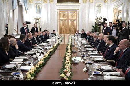 Russian President Vladimir Putin holds a meeting with representatives of Russian news organizations at the Kremlin February 20, 2019 in Moscow, Russia. - Stock Image