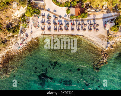 One of the most well known beaches in Greek island Thasos or Thassos town down aerial view - Stock Image