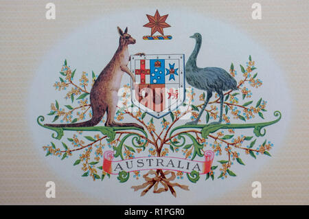 Reproduction of the Australian Coat of Arms, found on a Certificate of Australian Citizenship. - Stock Image