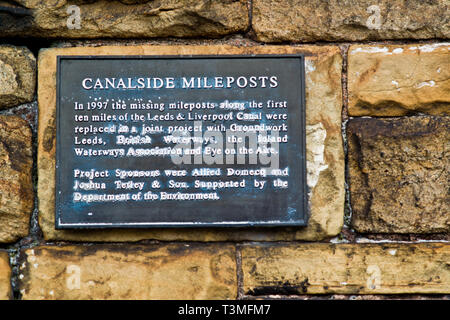 Canal Mile posts reinstated sign, Leeds to liverpool Canal, Leeds, England - Stock Image