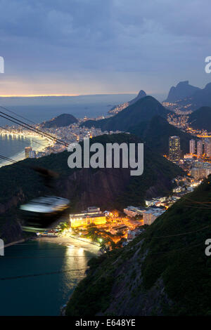 View of Rio de Janeiro & cable car at Sugar Loaf mountain, Brazil - Stock Image
