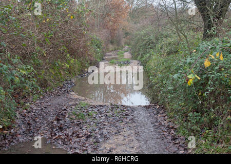 a muddy winter track leading to the end of Binsted village which is steeped in folklore, West Sussex, England - Stock Image