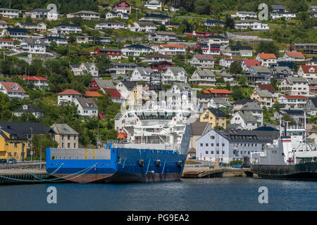 Industrial vessel is docked in port of Maloy, Norway. - Stock Image
