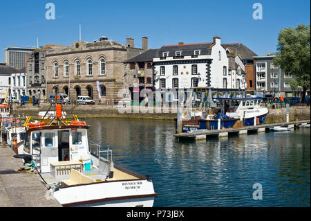 Harbourside with boats at The Barbican Plymouth Devon England UK - Stock Image