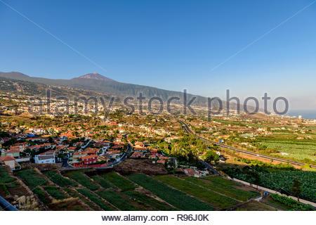 View over La Orotava from Mirador La Resbala towards mount Teide, Tenerife, Canary Islands - Stock Image