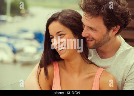 Couple on vacation enjoying scenery - Stock Image