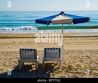 Beach Chair, Benidorm, Costa Blanca, Spain - Stock Image